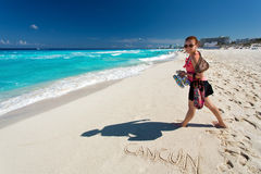 Cancun. Beautiful woman on the Cancun beach Stock Images