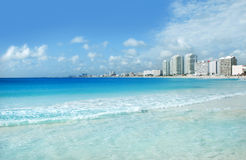Cancun coast and hotels. Cancun landscape with beach, sea and hotels Royalty Free Stock Photography