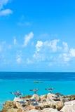 Cancun coast line. Caribbean sea gulls in the Cancun coastline Stock Photos