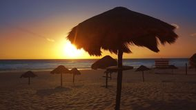 Cancun delfines beach in Caribbean Riviera Maya. Cancun sunrise at Delfines Beach at Hotel Zone of Mexico Mayan Riviera
