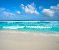 Cancun Delfines Beach at Hotel Zone Mexico. Cancun Delfines Beach at Hotel Zone of Mexico Royalty Free Stock Image
