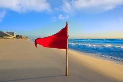 Cancun Delfines Beach red flag Mexico. Cancun Delfines Beach red flag in Mexico Hotel Zone Royalty Free Stock Photo