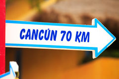 Cancun direction signpost Royalty Free Stock Image