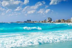 Cancun Forum beach Playa Gaviota Azul Royalty Free Stock Images