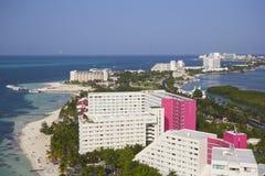 Cancun hotellområde, Mexico Arkivfoton