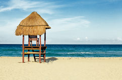 Cancun Hut. A small lifeguard hut on the beaches of Mexico Royalty Free Stock Images