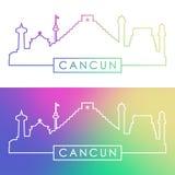 Cancun linia horyzontu Kolorowy liniowy styl Zdjęcie Royalty Free