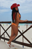 CANCUN MEKSYK, MAJ, - 03: Model pozuje outside podczas półfinał próby IBMS 2014 Fotografia Stock