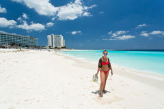 Cancun in Mexico. Beautiful Cancun beach in Mexico Royalty Free Stock Photos