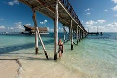Cancun in Mexico. Beautiful Cancun beach in Mexico Stock Photos