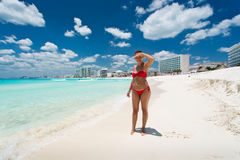 Cancun in Mexico. Beautiful woman on the Cancun beach Stock Images