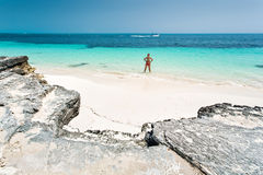 Cancun in Mexico. Beautiful woman on the Cancun beach Royalty Free Stock Photography