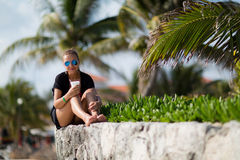 Cancun in Mexico. Beautiful woman in Cancun beach in Mexico Royalty Free Stock Photography
