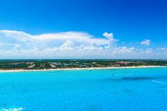 Cancun Mexico from birds eye view Cancun`s beaches with hotels and turquoise Caribbean sea Stock Image