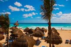 Cancun Mexico Delfines Beach Tropical In Caribbean Royalty Free Stock Images