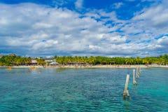 CANCUN MEXICO - JANUARI 10, 2018: Oidentifierat folk som simmar i härliga karibiska mujeres för en strandisla med rengöring Royaltyfri Fotografi