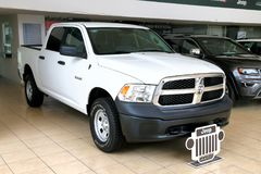 Dodge Ram. Cancun, Mexico - June 4, 2017: White pickup truck Dodge Ram in the city street royalty free stock images