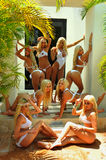 CANCUN, MEXICO - MAY 05: Models Pose Outside For White T-shirt Project Stock Photo