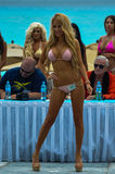 CANCUN, MEXICO - MAY 03: Model walking runway during semi-finals IBMS 2014 Stock Image