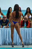 CANCUN, MEXICO - MAY 03: Model walking runway during semi-finals IBMS 2014. At the Mandala Beach Resort on May 03, 2014 in Cancun, Mexico stock photography