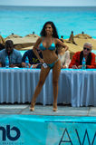 CANCUN, MEXICO - MAY 03: Model walking runway during semi-finals IBMS 2014. At the Mandala Beach Resort on May 03, 2014 in Cancun, Mexico royalty free stock images