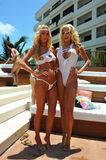 CANCUN, MEXICO - MAY 05: Models Lexi Sims (L) and April Eve (R) poses outside for white t-shirt project Stock Photography
