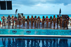 CANCUN, MEXICO - MAY 03: Models lineup on stage during semi-finals IBMS 2014 Royalty Free Stock Photography
