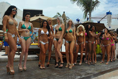CANCUN, MEXICO - MAY 03: Models lineup on stage during semi-finals IBMS 2014. At the Mandala Beach Resort on May 03, 2014 in Cancun, Mexico royalty free stock photos