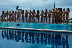CANCUN, MEXICO - MAY 03: Models lineup on stage during semi-finals IBMS 2014 Royalty Free Stock Image