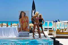 CANCUN, MEXICO - MAY 03: Models pose outside during semi-finals rehearsal IBMS 2014. At the Mandala Beach Resort on May 03, 2014 in Cancun, Mexico stock image