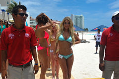 CANCUN, MEXICO - MAY 03: Models pose outside during semi-finals rehearsal IBMS 2014 Royalty Free Stock Photo