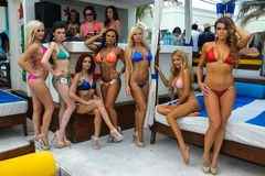 CANCUN, MEXICO - MAY 03: Models pose outside during semi-finals rehearsal IBMS 2014. At the Mandala Beach Resort on May 03, 2014 in Cancun, Mexico royalty free stock photography