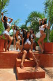 CANCUN, MEXICO - MAY 05: Models pose outside for white t-shirt project Stock Image