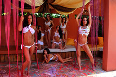 CANCUN, MEXICO - MAY 05: Models pose outside for white t-shirt project Stock Photos