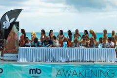 CANCUN, MEXICO - MAY 03: Models walking runway during semi-finals IBMS 2014. At the Mandala Beach Resort on May 03, 2014 in Cancun, Mexico stock photos