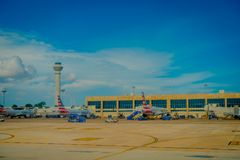 CANCUN, MEXICO - NOVEMBER 12, 2017: Outdoor view of Airplanes on the runway of Cancun International Airport in Mexico. Airport is located on the Caribbean stock photo