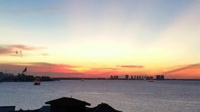 Cancun, Mexico over looking the shimmering water with this spectacular view. One beautiful evening in 2015 I caught a perfect sunset over looking the shimmering Royalty Free Stock Photography