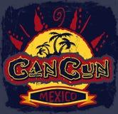 Cancun Mexico - uitstekend vectorkenteken vector illustratie