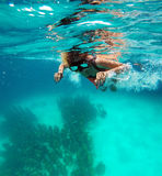 Cancun museum. Underwater photo of a snorkeler watching the underwater museum Stock Photography