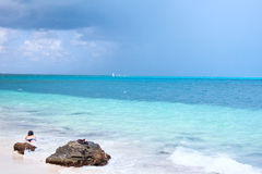Cancun ocean. Woman bathing in cancun beach ocean stock images