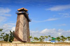Cancun old airport control tower old wooden Stock Photos