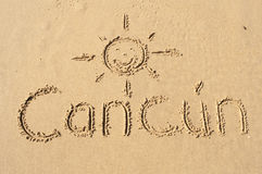 Cancun. A picture of the word Cancun drawn in the sand Royalty Free Stock Photography