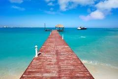 Cancun Playa Langostas beach in Mexico. Cancun Playa Langostas beach pier in Hotel Zone of Mexico stock photo