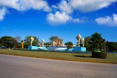 Cancun PlazaCeviche fyrkant i Mexico arkivbilder