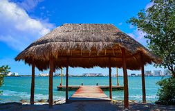 Cancun Pok-Ta-Pok area in Hotel Zone. Cancun Pok-Ta-Pok pier in Hotel Zone at Nichupte Lagoon of Mexico stock images