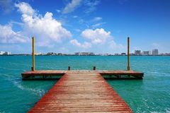 Cancun Pok-Ta-Pok area in Hotel Zone. Cancun Pok-Ta-Pok pier in Hotel Zone at Nichupte Lagoon of Mexico royalty free stock images
