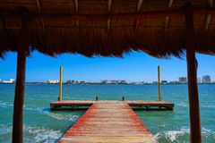 Cancun Pok-Ta-Pok area in Hotel Zone. Cancun Pok-Ta-Pok pier in Hotel Zone at Nichupte Lagoon of Mexico royalty free stock photography
