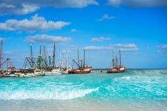 Cancun Puerto Juarez in Caribbean Mexico. Cancun Puerto Juarez in Caribbean sea of Mexico Royalty Free Stock Photos