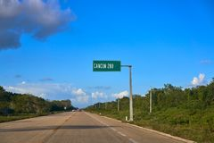 Cancun road sign in Riviera Maya. Of Mexico stock photo