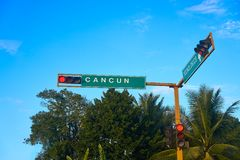 Cancun road sign in Riviera Maya. Of Mexico royalty free stock image